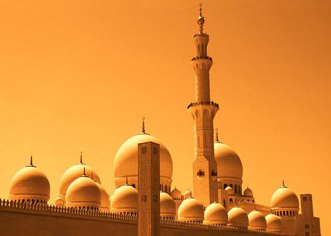 Dubai, Mosque, Orange, Gold, Sky Orange, Twilight