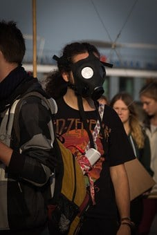 Gas Mask, Protest, Mass, Crowd, Violently