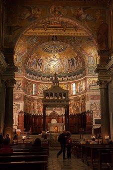 Rome, Italy, Church, Santa Maria In Trastevere