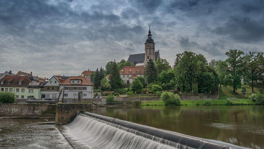 Weir, City View, Water, Penig, Saxony, Trough