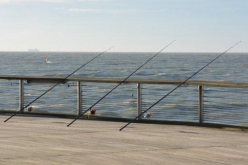 Fishing Rods, Sea, Fish, Water, Pier, Salazar