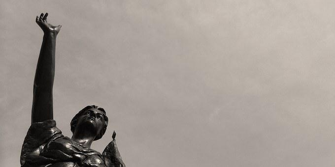 Madison, United States, Statue, Himmel, Black And White