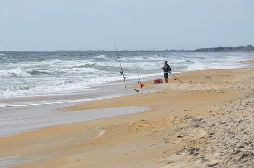 Surf Fishing, Fisherman, Ocean, Surf, Sea, Beach