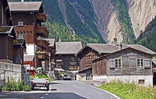 Switzerland, Valais, Bergdorf, Wooden Houses, Mountains