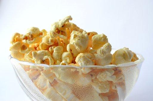 Popcorn, Food, Snack, Bowl, Yellow, White, Corn