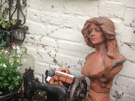 Bust, Clay, Terracotta, Woman, Yard, Garden, Old, Worn