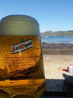 Beer, Beach, Drink, Cold, Alcohol, Glass, Foam, Leasure