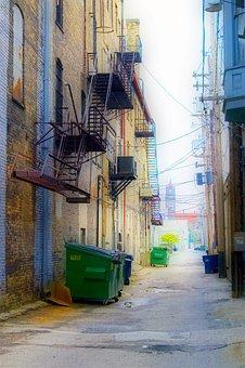Ally, Dumpster, Fire Escape, Buildings, Alleyway, Brick