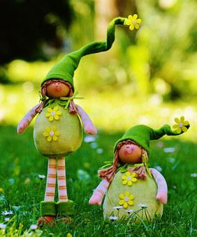 Spring Imp, Dwarfs, Funny, Cute, Sweet, Meadow, Imp