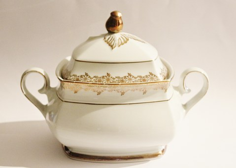 Soup Tureen, Antique, Gold Edge, Service, Tableware