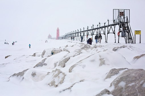 Pier, Jetty, Lighthouse, Red, Michigan, People, Winter