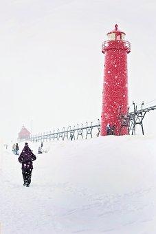 Lighthouse, Red, Michigan, People, Winter, Walking
