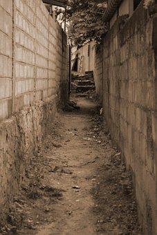 Path, Way, Alley, Alleyway, Gap, Wall, Sepia, Narrow