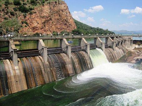 Dam, Water, Mass, Sluice, Open, Waterfall, White, Green