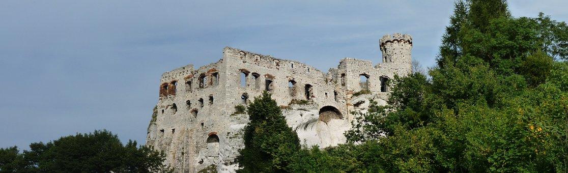Ogrodzieniec, Panorama, Castle, Towers, Poland