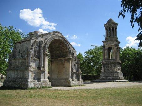 Mausoleum, Arc, Roman, Glanum, Saint-rémy-de-provence