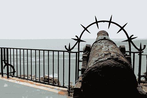 Sea, Gun, Fortress, Bay, Coast, Outlook, Sea View