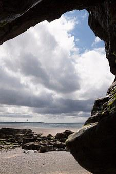 Cave, Output, Opening, Sea, Clouds, Water, Sky