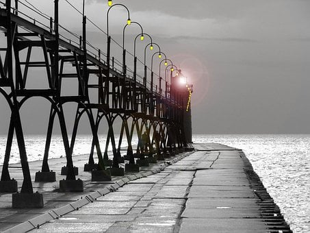 South, Haven, Lighthouse, Pier, Lake, Michigan