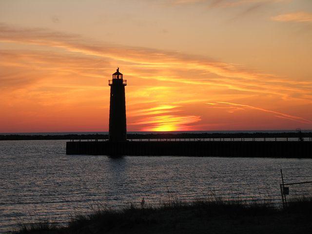 Lighthouse, Sky, Sunset, Beach, Lake Michigan