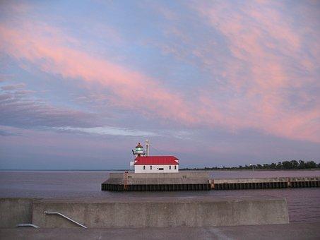 Sunset, Lighthouse, Sky, Coastline, Navigation