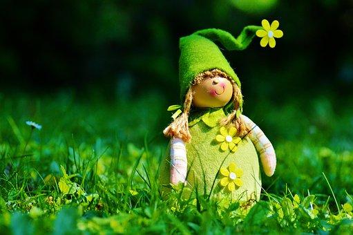 Imp, Spring Imp, Funny, Cute, Sweet, Meadow, Dwarf