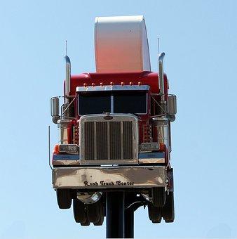 Roadsign, Truck, Peterbilt, Vehicle, Transportation