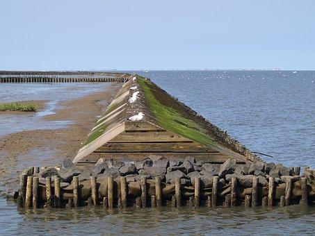 Surf Wall, North Sea, Wadden Sea, Watts