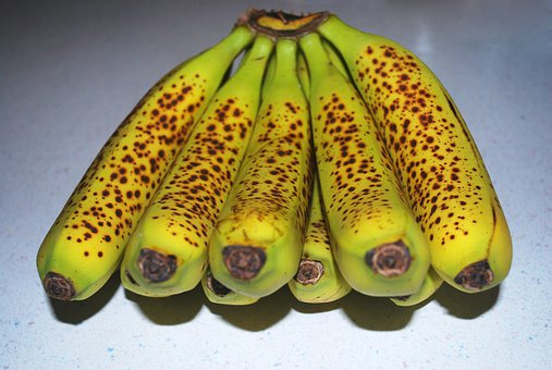 Bananas, Yellow, Fruits, Brown, Spots, Speckles, Bunch