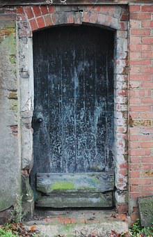 Door, Old, Broken, Brick, Wood, House, Architecture