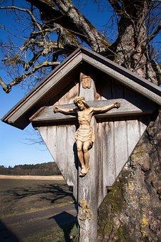 Crucifix, Cross, Wayside Cross, Carved, Wooden Cross