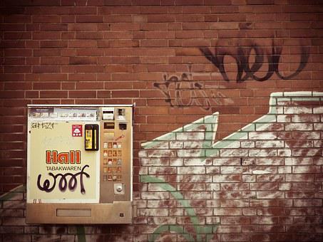 Cigarette Machine, Cigarettes, Facade, Urban, Automatic