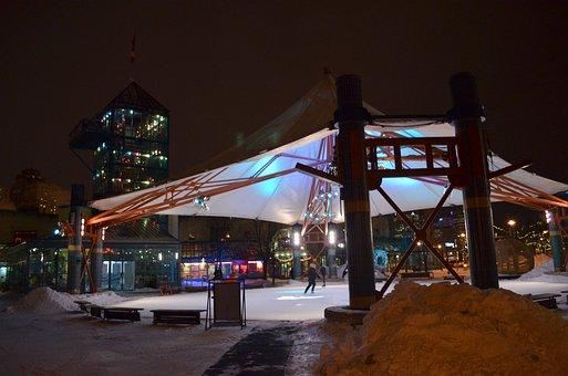 Winnipeg, Canada, Night, Evening, City, Lights
