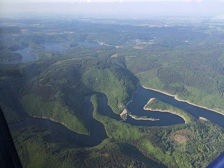 Flying, Landscape, Lake, Eifel, Aerial View, Nature