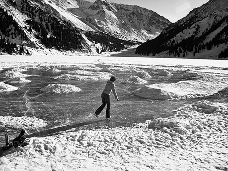 Landscape, Mountains, Lake, Frozen, Woman, Ice Skating