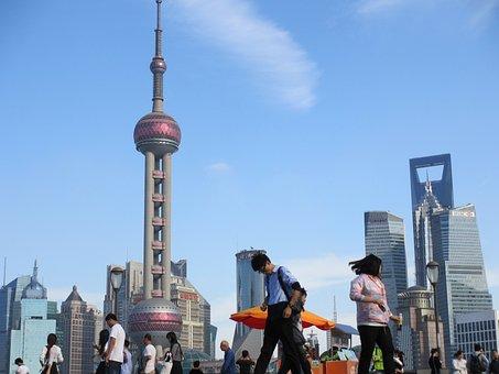 Shanghai, China, Asia, Landmark, Tower, Chinese, River