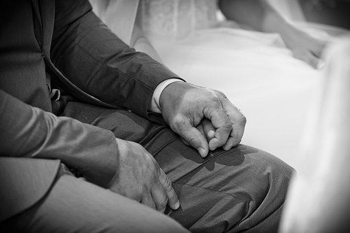Spouses, Marriage, Hands, Wedding, Romance, White, Nero