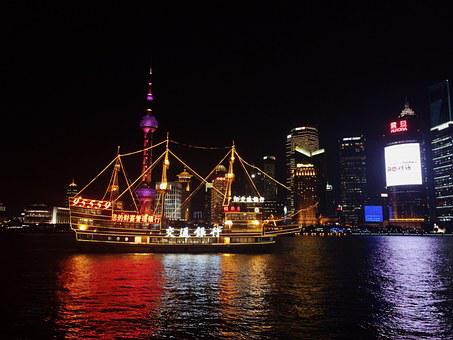 Shanghai, China, Pearl Of The Orient, Night View, Night
