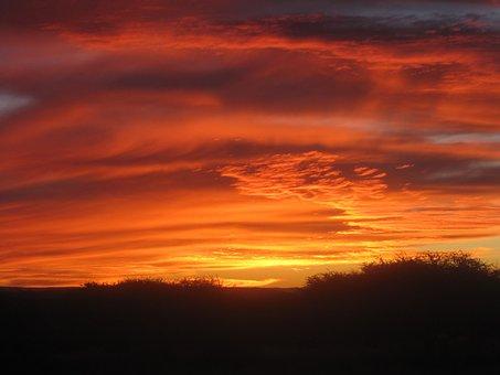 Sunset, Clouds, Reds, Dark, Crimson, Orange, Vermillion