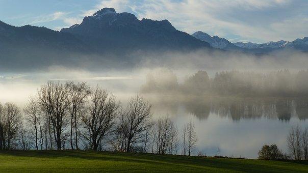 Allgäu, Lake Forggensee, Autumn, Fog, Säuling, Füssen