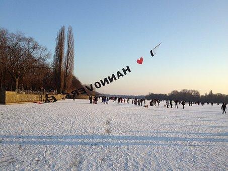 Hanover, Lake Maschsee, Frozen, Skate, Winter