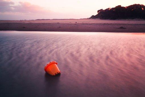 Bucket, Sunset, Landscape, Purple, Orange, Anglesea