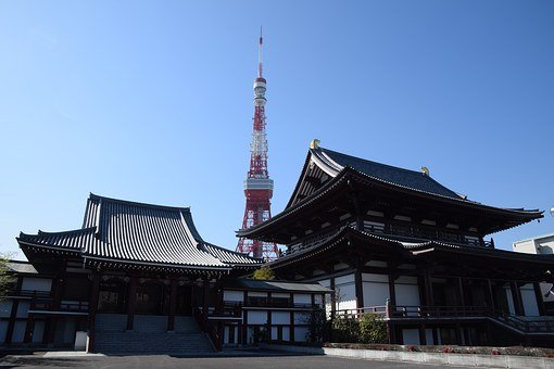 Traditional And Technology, Zojoji Temple, Tokyo