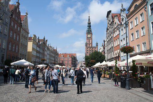 Gdańsk, The Old Town, Long Market, Tourists, Monuments