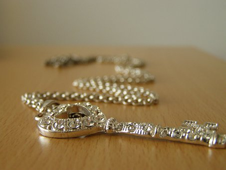 Chain, Silver, View From Below, Heart, Key