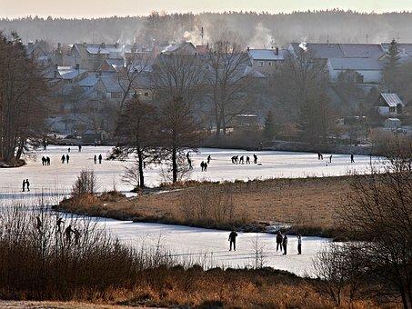 Winter, Pond, Ice, Skating, Hockey, Skaters, Skater