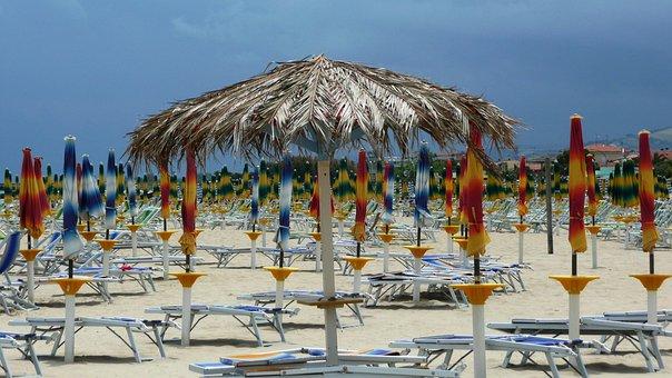 Beach, Sea, Sand, Abruzzo, Italy, Sunshade, Umbrella