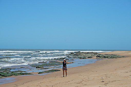 Lady On Beach, Sea, Waves, Shore, Beach, Sand, Rocks