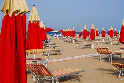Rimini, Italy, Beach, Umbrellas, Sunshades, Vacation