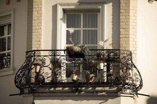 Balcony, Iron, Wrought Iron, Blacksmithing, Flowers